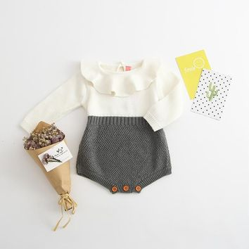 NEW 2017 Autumn Toddler Baby Girl Clothings Ruffles Princess Girl Sweet Knitted Overalls Infant Romper