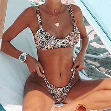 Summer Beach Fashion Women Sexy Leopard Print Two Piece Bikini Swimwear Bathing