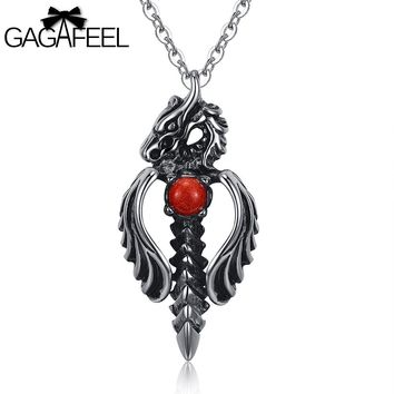 GAGAFEEL Domineering Punk Necklace Male 316L Stainless Steel Men Jewelry Dragon Sword Pendant Necklace Link Chain Collier