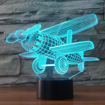 3D Illusion Night Light  LED Light 7 Color with Touch Switch USB Cable Nice Gift Home Office Decorations,Model Plane-4