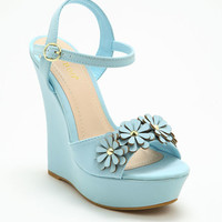 BLUE DAISY QUEEN LEATHERETTE WEDGES