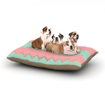 "Monika Strigel ""Avalon Soft Coral and Mint Chevron"" Orange Green Dog Bed"