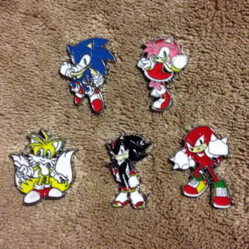 LOT OF 5 Sonic the Hedgehog Hat Pin Set - Handmade, Repurposed From Charms