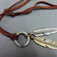 Brown real Leather and alloy feather pendant adiustable necklace mens necklace  unisex necklace cool necklace B1