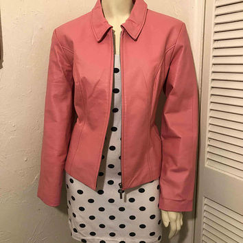 Vintage 1980s 1990s DONA MICHI Bubble Gum Pink Genuine Leather Jacket / Retro Barbie Moto Jacket / Classic Designer Leather / Pretty in Pink