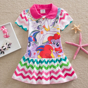 2017 Summer Baby Girl Dresses Kids Fashion Clothes Cartoon Little Pony Girl Dress Baby Girls Casual Dress For Girls Clothing