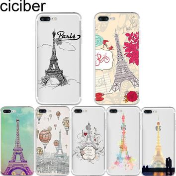 Phone Cases Romantic Paris Eiffel Tower Love Clear Soft Silicone TPU Case Cover for Apple Iphone 7 plus 5S SE 6 6S plus Coque