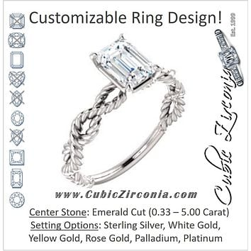 Cubic Zirconia Engagement Ring- The Jazzlyn (Customizable Emerald Cut Solitaire with Infinity-inspired Twisting-Rope Split Band)