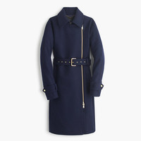 J.Crew Womens Petite Belted Zip Trench Coat In Wool Melton