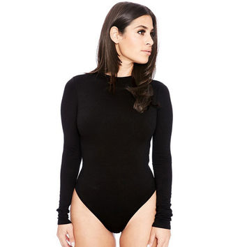High Cut Bodysuit with Long Sleeves