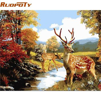 RUOPOTY Animals DIY Oil Painting By Numbers Acrylic Paint On Canvas Wall Art Picture Handpainted For Living Room Deer Frame