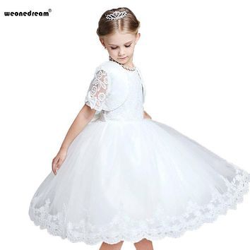 WEONEDREAM 2017 Two Pieces/ Set Bow Flower Girl Dresses Ball Gown Lace Performance Clothing for Weddings Party Dresses Flower