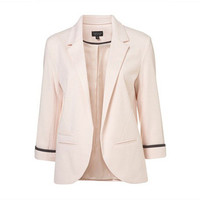 Women's Fashion Boyfriend Style No Button Slim Quarter Sleeve Button Business Casual Suit Jacket Outerwear _ 3352