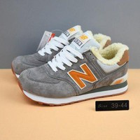 QIYIF cxon new balance nb574 cashmere shoes grey orange for women men running sport casual shoes sneakers