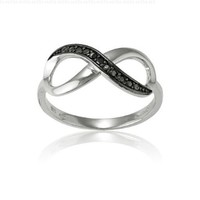 Sterling Silver Black Diamond Infinity Figure 8 Ring (Size 6) Available in sizes 5 - 6 - 7 - 8 - 9 - 10