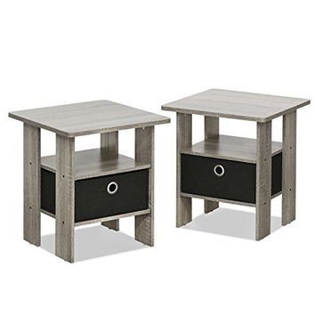 Furinno 2-11157GYW Petite End Table Bedroom Night Stand, Set of Two