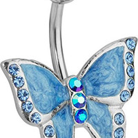 14g Surgical Steel Crystalline Butterfly Belly Button Ring