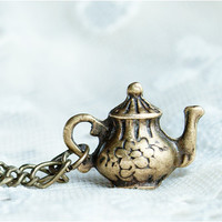 Teapot necklace Tea time  Alice in Wanderland