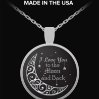 Silver Chain Necklace - Moon And Stars - Round Pendant - Lovely Charm