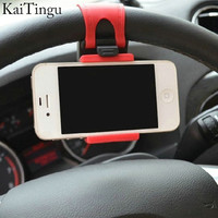 New Car Steering Wheel Phone Holder For iPhone Flexible Rubber Band Holder For Samsung GPS Free Hand Stand Car Holder Support