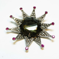 Capri Signed Starburst Brooch with Huge Center Stone - Vintage Marcasite Pin