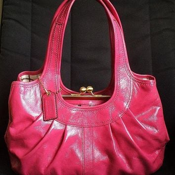 Coach Ergo Hot Pink Patent Leather Tattersall Kisslock Pleated Frame Satchel Bag