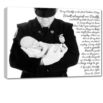 Personalized Custom Family Personalized Photo Gift for Dad on Canvas Words Text Quote Sayings 16X20