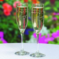 Champagne Flutes, Personalized Silkscreened Champagne Flutes, Silkscreened Champagne Flutes