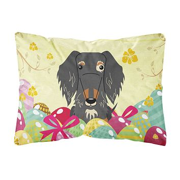 Easter Eggs Wire Haired Dachshund Dapple Canvas Fabric Decorative Pillow BB6128PW1216