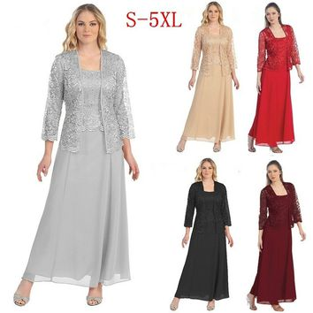 Women Ladies Fashion Long Chiffon Dress Mother of Groom Dress with Lace Long Sleeve Jacket