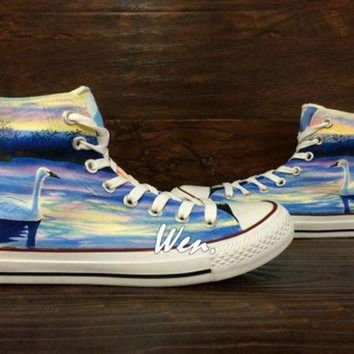 CREYONB WEN Original Design Swan at Dusk Swan Converse Swan Shoes Hand Painted Shoes,Painted C