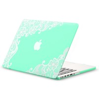 "Kuzy - Retina 13-inch Lace Mint GREEN Rubberized Hard Case for MacBook Pro 13.3"" with Retina Display A1502 / A1425 (NEWEST VERSION) Shell Cover - Lace Mint Green"