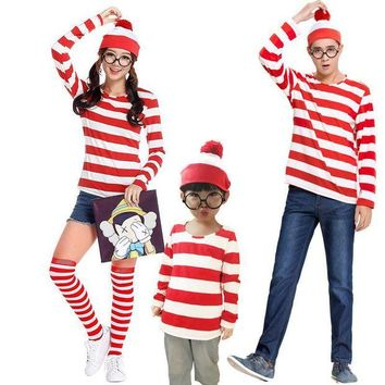 DCCKH6B Vocole Parenting Wheres Wally Cosplay Costumes Men Women Children Game Party Uniform Red Stripe Shirt+Hat+Glasses
