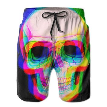 3D-Effected Skull Humor Mens Fashion Casual Beach Shorts