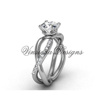 "14kt white gold diamond engagement ring, ""Forever One"" Moissanite VD870"