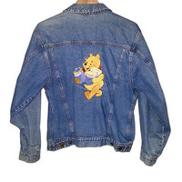 WINNIE THE POOH Denim Jacket Button up Jean Coat Walt Disney 90s Vintage Soft Grunge Size Small