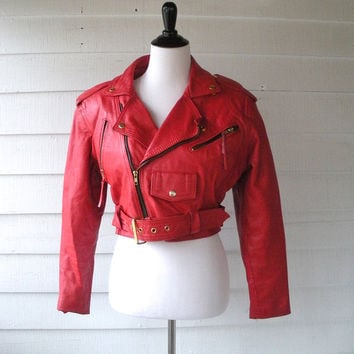 Wilsons Red Leather Moto Jacket (Wilsons Leather)