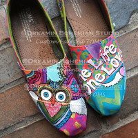 I Am Love I am Abundance Owl design hand painted custom shoes TOMS included