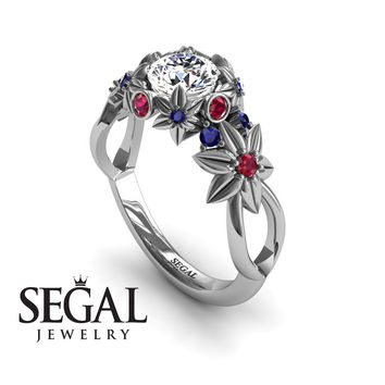 Unique Engagement Ring 14K White Gold Flowers And Branches Art Deco Edwardian Ring White diamond With Ruby - Katherine