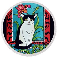 Pretty Me In Tuxedo Round Beach Towel for Sale by Dora Hathazi Mendes