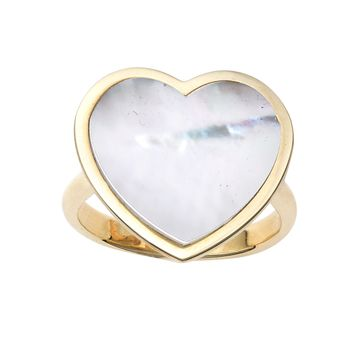 14k Yellow Gold Heart Mother Of Pearl Ring, Size 7