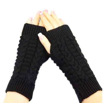 women gloves Stylish hand warmer winter gloves women Arm Crochet Knitting faux Wool Mitten warm Fingerless Gloves ship from USA