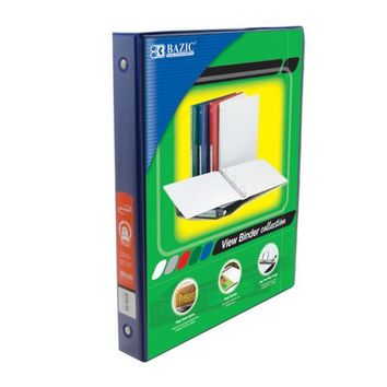 """Bazic 1"""""""" Blue 3-Ring View Binder with 2-Pockets Case Pack 12"""