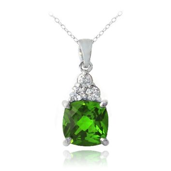 925 Silver 1.2ct Created Emerald & CZ Cushion Cut Necklace