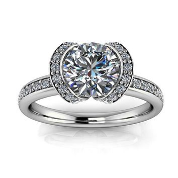 Half Bezel Set Engagement Ring Moissanite and Diamond - Jessica
