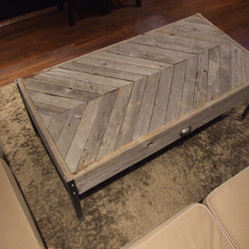 The herringbone  - Unfinished Old Barn Wood Coffee Table
