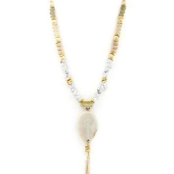 Braided Suede Semi Precious Necklace | White