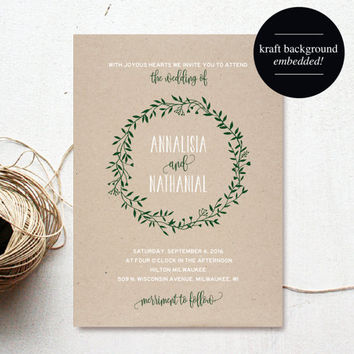 Wreath Wedding Invitation, Forest Green Wedding Invitation Template, Floral, Rustic, Kraft, Printable, PDF Instant Download #BPB221_1