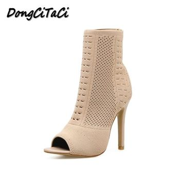 DongCiTaCi Women Pumps Fashion High Heels Shoes Woman Knitting Peep Toe Cut-outs Ladies Ankle Booties Boots Stilettos Black