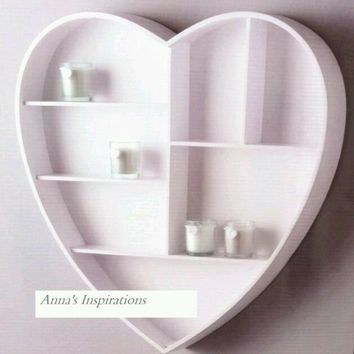 Heart Shaped Wall Hanging Shelf Display Unit Shabby Chic Kitchen Storage